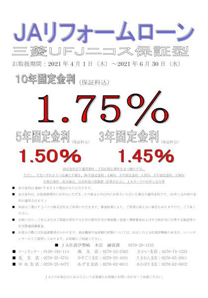 JAリフォームローン 三菱UFJニコス保証型